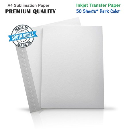 Epson Heat Transfer (Premium Inkjet Heat Transfer Paper for (Dark Fabrics), Pure Cotton, Polyster Ricoh, Epson, SawGrass Printers (50 Sheets) A4 )