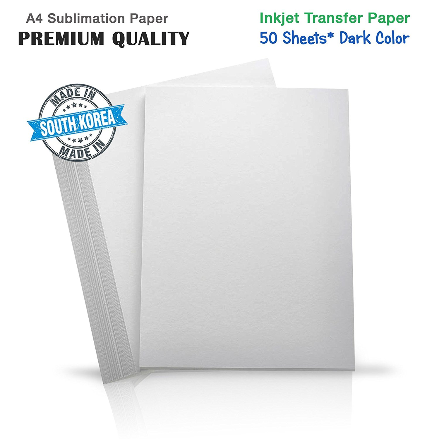 Premium Inkjet Heat Transfer Paper for (Dark Fabrics), Pure Cotton, Polyster Ricoh, Epson, SawGrass Printers (50 Sheets) A4