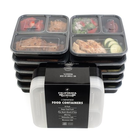 california home goods 3 compartment reusable food storage containers with lids microwave and. Black Bedroom Furniture Sets. Home Design Ideas
