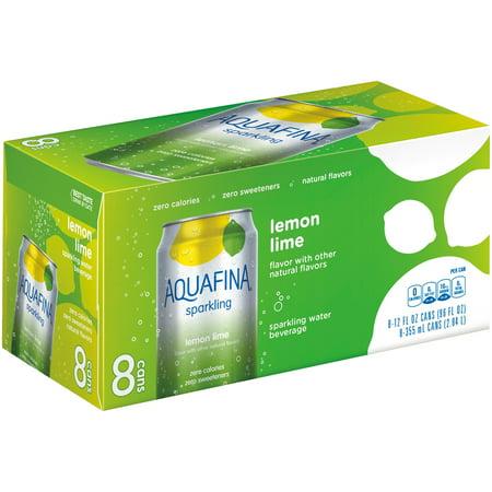 Aquafina Sparkling Water, Lemon Lime, 8 Fl Oz, 8 Count