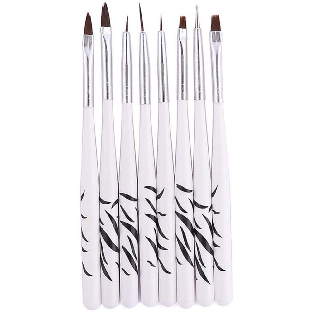 Qiilu 8Pcs/Set Nail Art Liner Brush Acrylic UV Gel Drawing