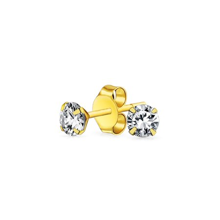 REAL 14K Yellow Gold .25CT Tiny Round Cubic Zirconia Solitaire CZ Stud Earrings For Women For Teen