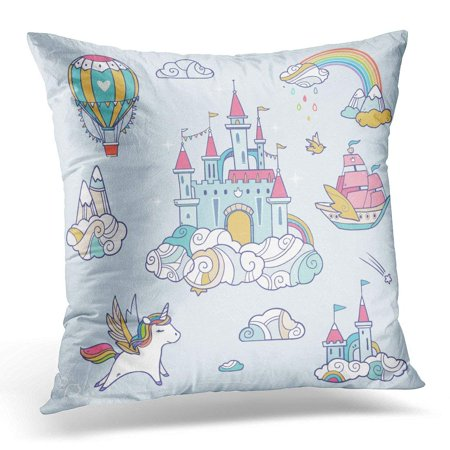 ARHOME Blue Unicorn Magic Cute Baby with Fairy Cloud Castle Pegasus Colorful Rainbow Air Balloon and Other Pillow Case Pillow Cover 20x20 inch - Rainbow Pegasus
