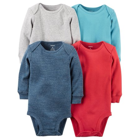 52975a5cf201 Carters - Carters Baby Boys 4-Pack Long-Sleeve Bodysuits Heather ...