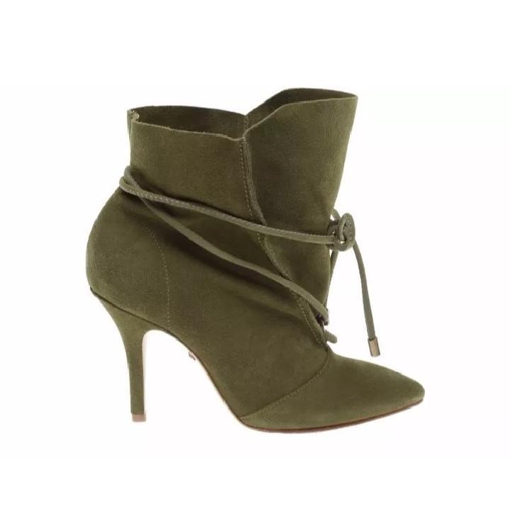 olive green high heel booties