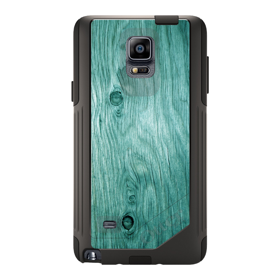 DistinctInk™ Custom Black OtterBox Commuter Series Case for Samsung Galaxy Note 4 - Teal Weathered Wood Grain Print