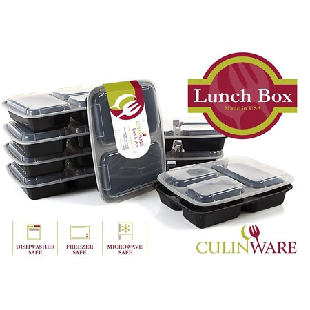Culinware 3 Compartment Microwave Safe Food Container With Lid Divided Plate Bento Box