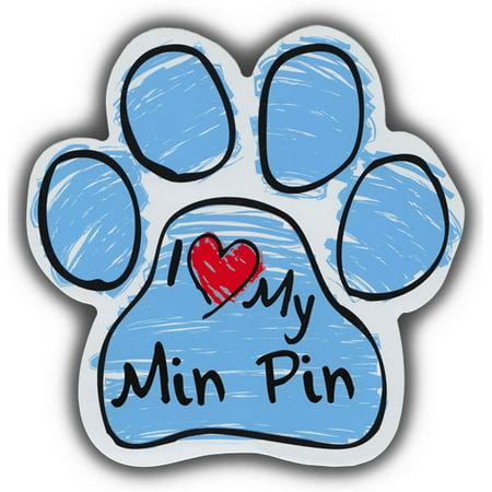 Scribble Paw Dog Magnets: I Love My Min Pin | Cars, Trucks, Refrigerators ()