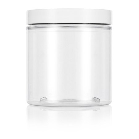 3 Oz Plastic Jar - Clear 8 oz / 250 ml PET (BPA Free) Plastic Jar with White Lid (6 pack) + Spatulas and Labels