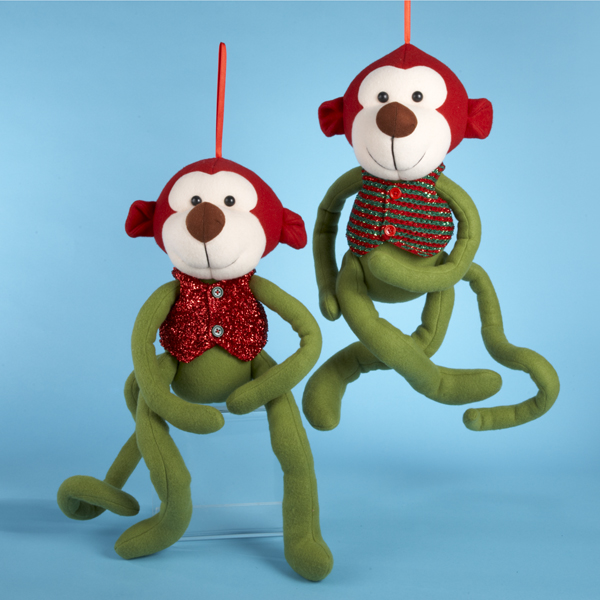 Pack of 4 Green Monkey Christmas Ornaments 18""