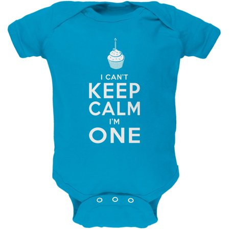 Birthday I Cant Keep Calm Im 1 One Turquoise Soft Baby One Piece