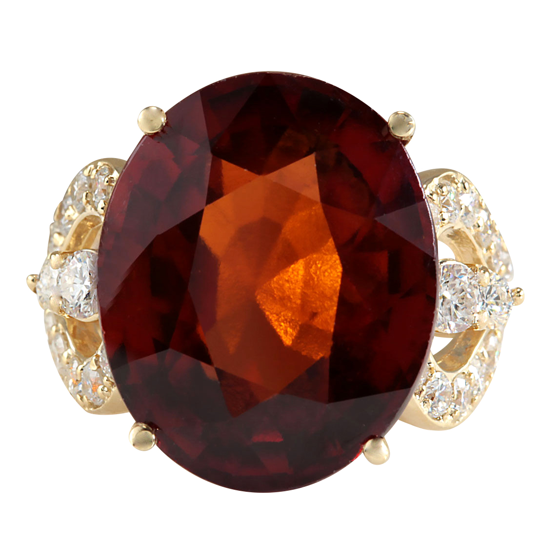 19.58CTW Natural Hessonite Garnet And Diamond Ring In 14K Yellow Gold by