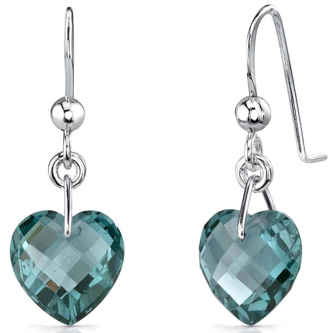 Peora 9.50 Ct Heart Shape Green Sapphire Sterling Silver Drop Earrings Rhodium Finish