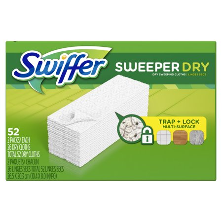 Swiffer Sweeper Dry Sweeping Pad, Multi Surface Refills for Dusters Floor Mop, 52 Count (Swiffer Wet Refills 60 Count)