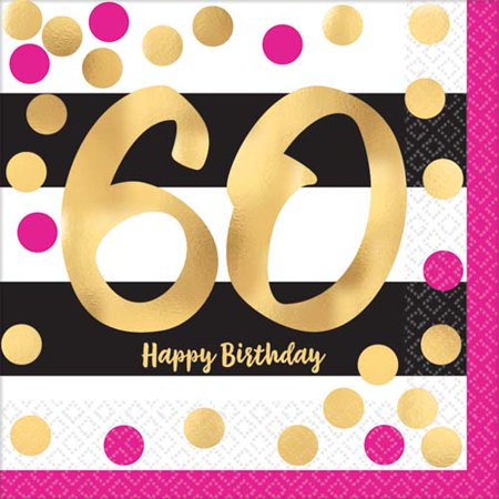 Over the Hill 'Hot Pink and Gold' 60th Birthday Lunch Napkins (16ct)](60th Birthday Color Theme)