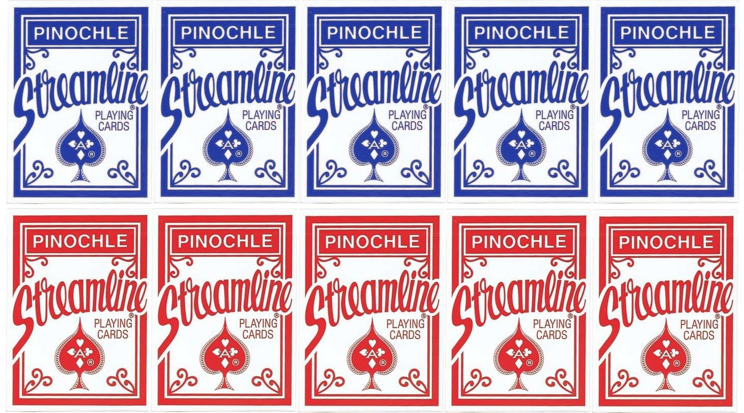 Streamline Pinochle Standard Index Playing Cards 5 Red Decks and 5 Blue Decks #1000664 by The United States Playing Card Company