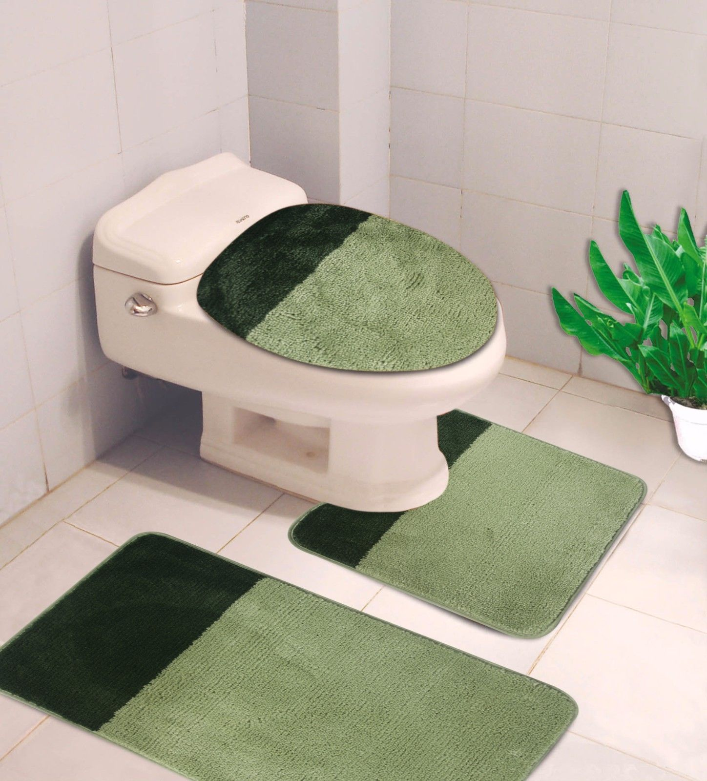 """3-PC (#7) 2 Tone Sage/Hunter Green HIGH QUALITY Jacquard Bathroom Bath Rug Set Washable Anti Slip Rug 18""""x28"""", Contour Mat 18""""x18"""" and Toilet Seat Lid Cover 18""""x19"""" with Non-Skid Rubber Back"""