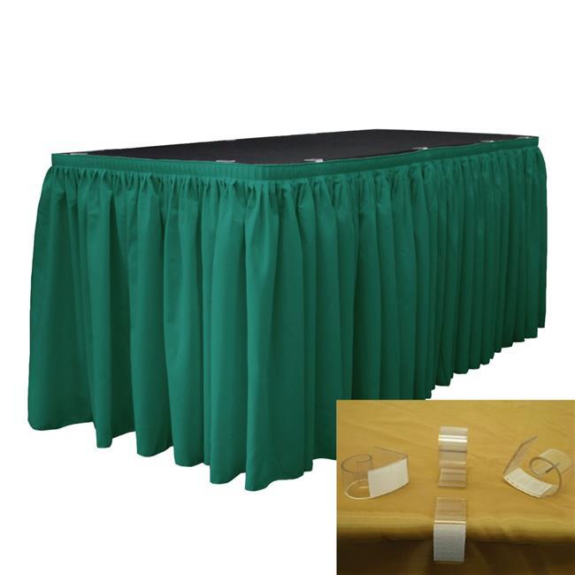 LA Linen SKT-Pop-14x29-10Lclips-TealP43 Polyester Poplin Table Skirt with 10 L-Clips, Teal - 14 ft. x 29 in. - image 1 de 1