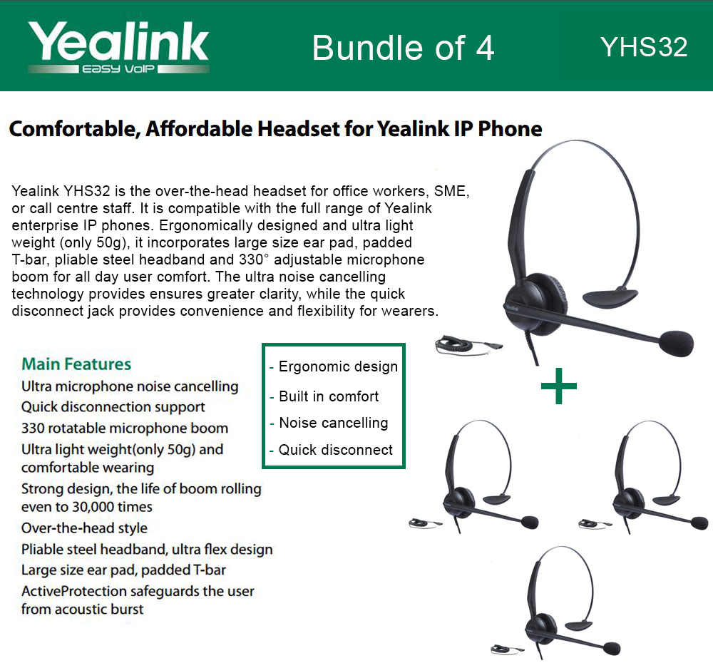 Yealink YHS32 4-UNITS Headset Ultra noise cancelling Over-the-head style