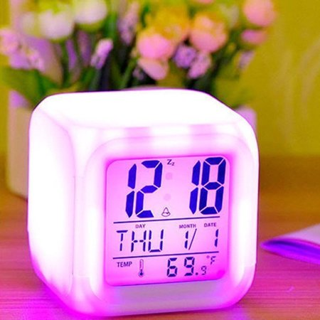 Jeobest Digital Alarm Clock - LED Color Changing Alarm Clock - Alarm Clock 7 LED Color Changing Digital Alarm Thermometer Cube Calendar Clock Colors Change for Unisex Adults Kids Toy