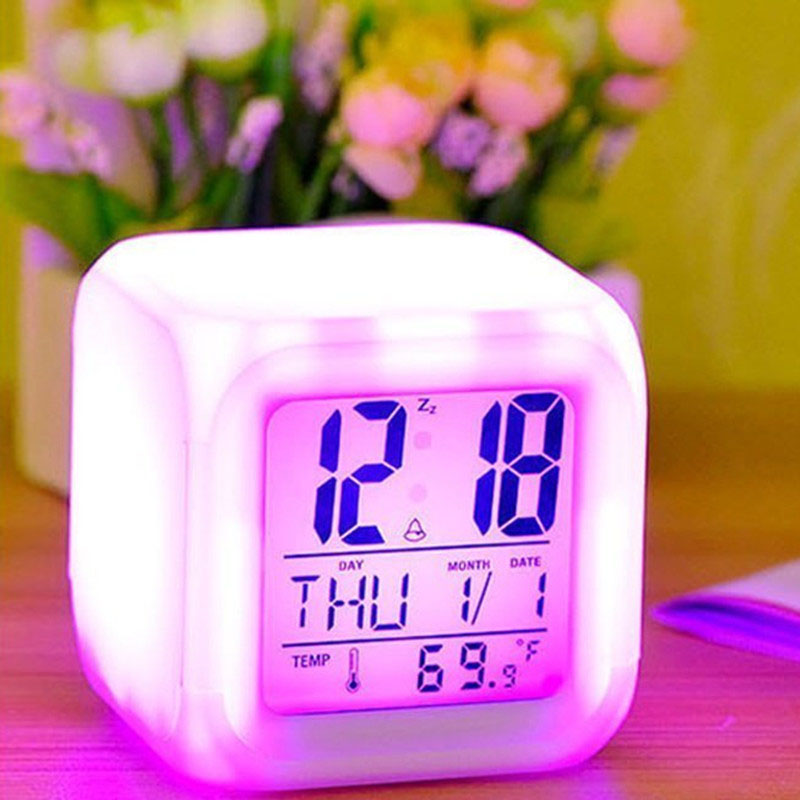 Jeobest Digital Alarm Clock - LED Color Changing Alarm Clock - Alarm Clock 7 LED Color Changing Digital Alarm Thermometer Cube Calendar Clock Colors Change for Unisex Adults Kids Toy Gift