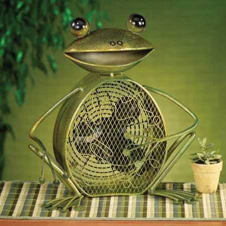 DecoFLAIR Table Fan Two-Speed Electric Circulating Fan, Green Frog Figurine Fan