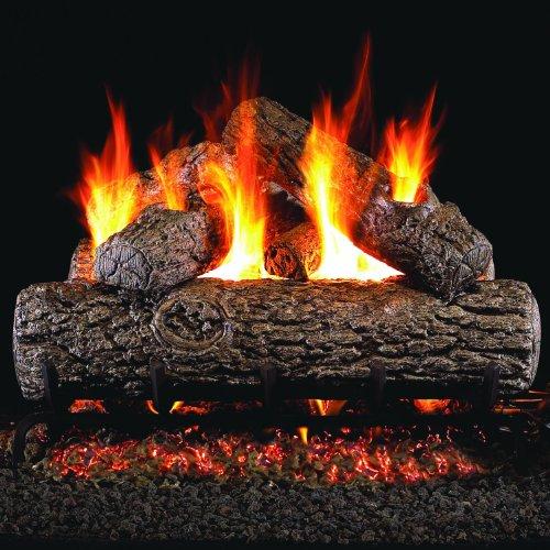 Peterson Real Fyre 24-inch Golden Oak Log Set With Vented Natural Gas Ansi Certified G46 Burner - Variable Flame Remote