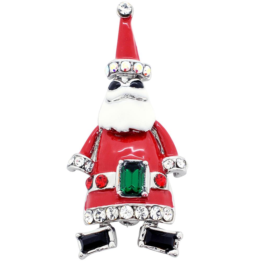 Santa Claus Swarovski Crystal Christmas Pin Brooch by