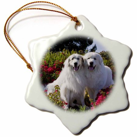 3dRose Two Great Pyrenees dogs together - US05 ZMU0268 - Zandria Muench Beraldo, Snowflake Ornament, Porcelain, (Great Pyrenees Porcelain)
