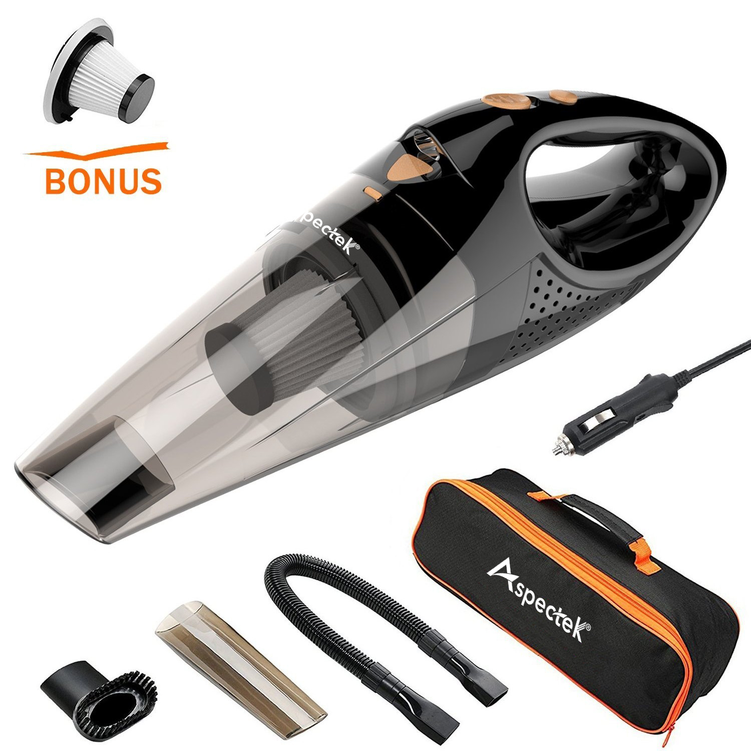 [Upgraded] Car Vacuum Cleaner with LED Light, Aspectek DC12-Volt Wet/Dry Portable Handheld Auto Vacuum Cleaner for Car,16.4FT(5M)Power Cord with Carry Bag(Black)