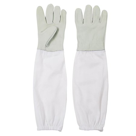 Yescom 1 Pair of Beekeeping Protective Gloves Goatskin Vented Cotton Long Sleeves Elastic Cuffs XL for Beekeeper