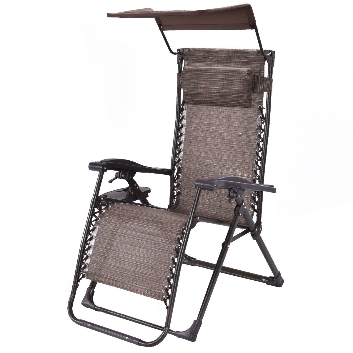 Gymax Zero Gravity Chair Lounge Foldable with Sunshade+Tray Patio Outdoor