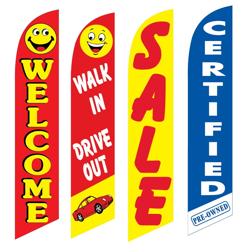 4 Advertising Swooper Flags Welcome Drive In Walk Out Sale Certified Pre Owned