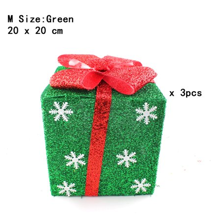 Pack of 3 Lighted Christmas Snowflakes Gift Wrap Boxes Yard Art Holiday Decoration (NOT Included LED light), Green, M