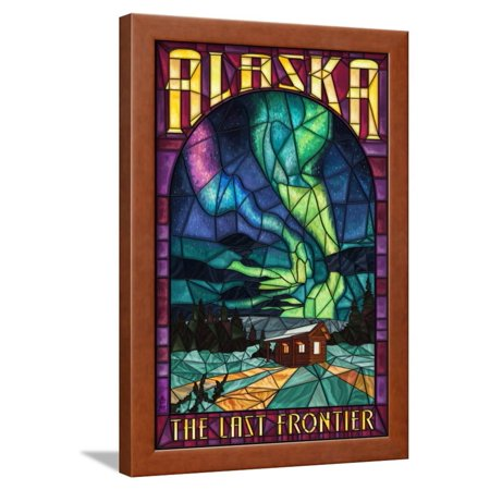 Alaska - Cabin and Northern Lights Stained Glass Framed Print Wall Art By Lantern Press