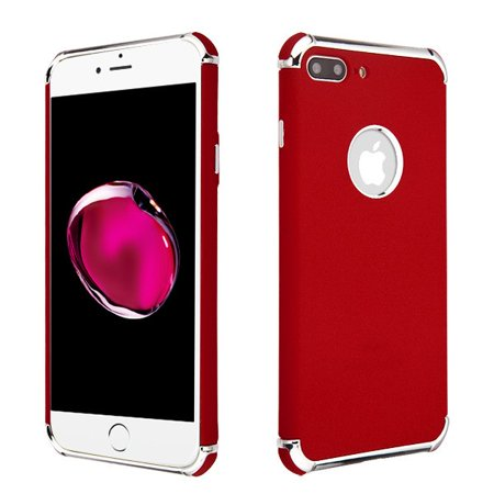 Apple iPhone 8 Plus, iPhone 7 Plus Phone Case Tuff Hybrid Shockproof Armor Silicone Rubber Rugged Hard Soft Protective TPU Case Slim Cover Frosted Red Phone Case for Apple iPhone 8 Plus / 7 (Best Case For Iphone 7 Plus Red)