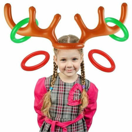 Christmas Inflatable Reindeer Antler Ring Toss Game Xmas Family Fun Xmas Holiday Party Toys Gift ()