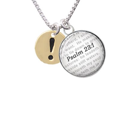 Gold Tone Disc 1/2'' - Symbol - Exclamation Point - ! - Bible Verse Psalm  23:1 Glass Dome Necklace