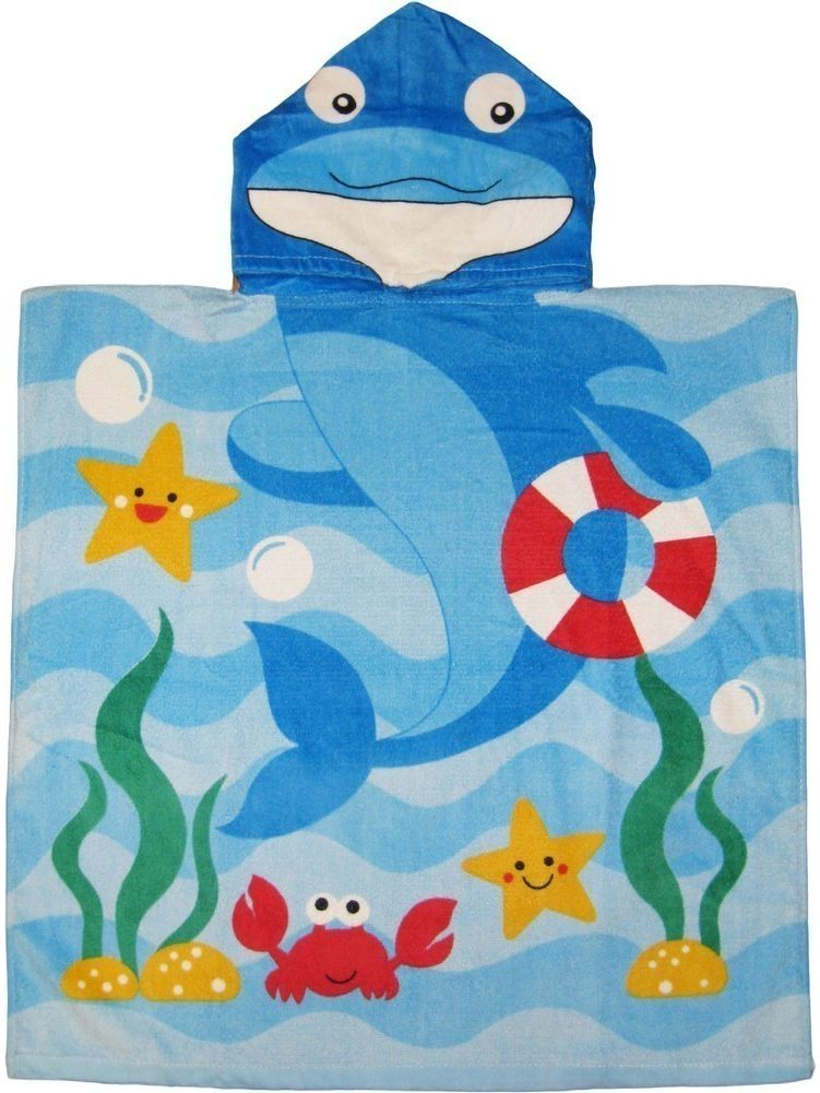 Kreative Kids Girls Blue Dolphin Poncho Hooded Bath & Beach Towel by Kreative Kids
