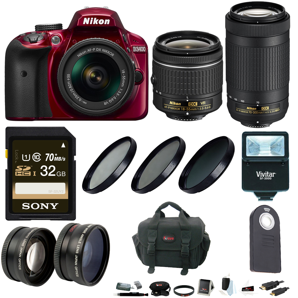 Nikon D3400 DSLR Camera w/ 18-55mm and 70-300mm Lenses (Red) + Accessory Bundle