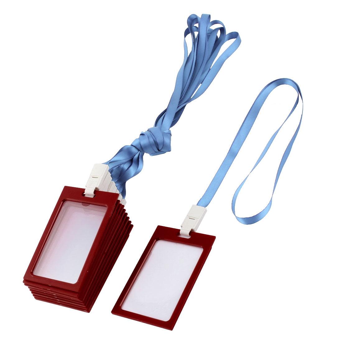 Plastic Rim Vertical Designed Name Tag Card Holder Light Blue Red 10 Pcs
