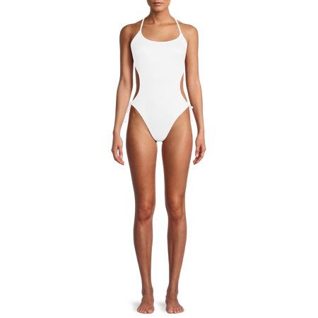 Social Angel Women's Solid Monokini Swimsuit with Side Cutout