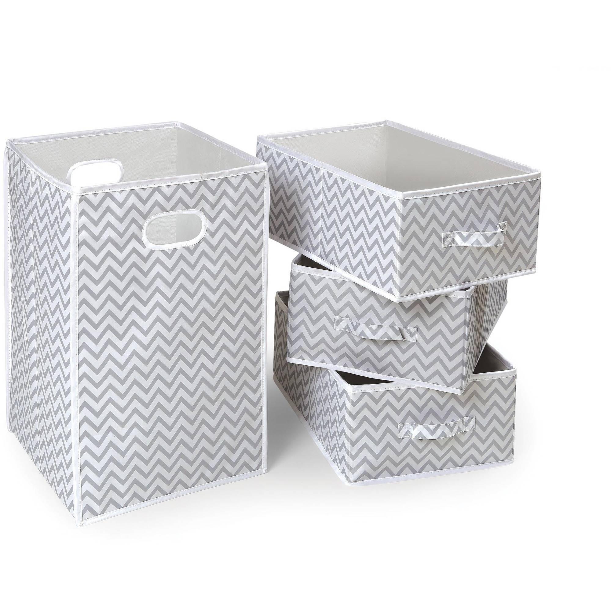 Badger Basket Folding Hamper and 3-Basket Set, Gray Chevron