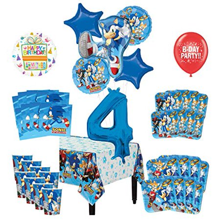 Mayflower Products Sonic The Hedgehog 4th Birthday Party Supplies 8 Guest Decoration Kit and Balloon Bouquet