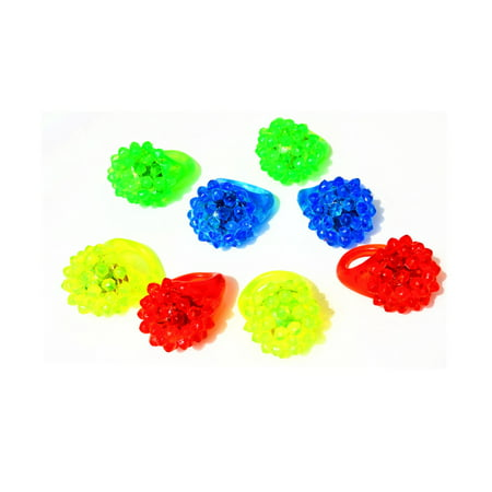 Light Up Ring (Flashing LED Light Up Toys, Glow In The Dark Bumpy Rings)