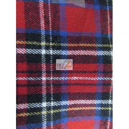 - Tartan Plaid Uniform Apparel Flannel Fabric / Red/Multi-Color / Sold By The Yard