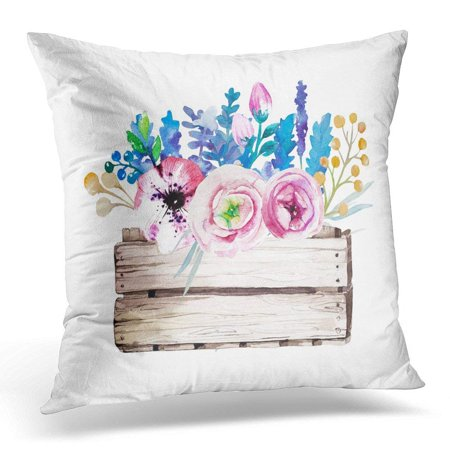 Wedding Clipart Graphics (ARHOME Blue Wedding Watercolor Feather White Design for Purple Clipart Pillow Case Pillow Cover 20x20)