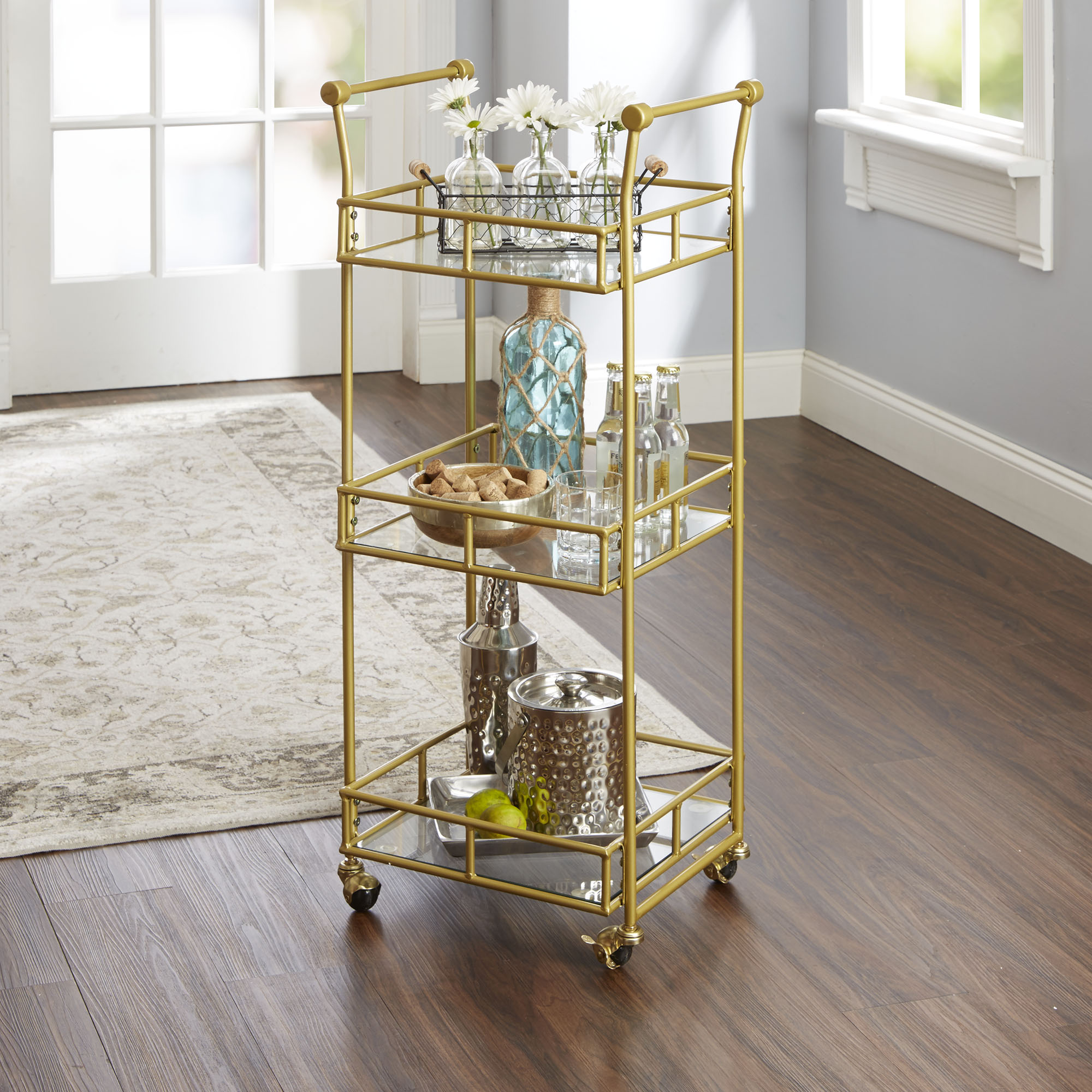 Collier Three-Tier Glass Shelf Square Bar Cart