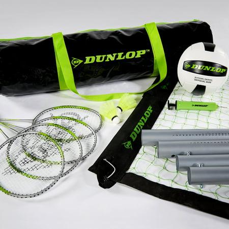 Dunlop Badminton Outdoor Lawn Game: Premium Volleyball & Badminton Set - Large Badminton Set