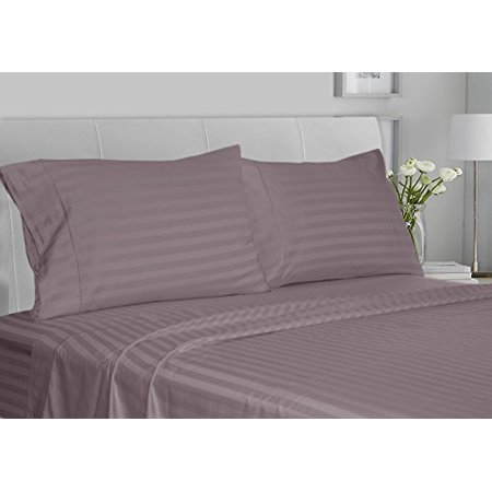 CHATEAU HOME COLLECTION Luxury 100% Supima Cotton 500 Thread Count Ultra Soft Damask Stripe Sheet Set, Mega Sale, Lowest Prices, Purple Ash, King